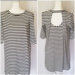 Emma & Michele Striped Black/White Dress, Size M